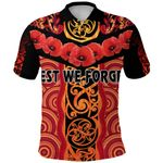 Anzac Lest We Forget Poppy Polo Shirt New Zealand Maori Silver Fern - Australia Aboriginal K8
