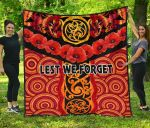 Anzac Lest We Forget Poppy Premium Quilt New Zealand Maori Silver Fern - Australia Aboriginal