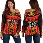 Anzac Lest We Forget Poppy Women Off Shoulder Sweater New Zealand Maori Silver Fern - Australia Aboriginal