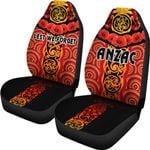 Anzac Lest We Forget Poppy Car Seat Covers New Zealand Maori Silver Fern - Australia Aboriginal