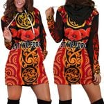 Anzac Lest We Forget Poppy Women Hoodie Dress New Zealand Maori Silver Fern - Australia Aboriginal