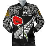 Anzac Australia And New Zealand Men's Bomber Jacket, Poppy Fern Lest We Forget K4