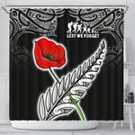 Anzac Australia and New Zealand Shower Curtain, Poppy Fern Lest We Forget K4