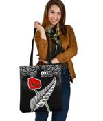 Anzac Australia and New Zealand Tote Bag, Poppy Fern Lest We Forget K4