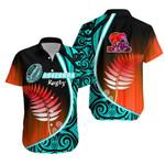 Aotearoa Rugby Black Maori Hawaiian Shirt Kiwi and Silver Fern New Zealand - Blue | 1st New Zealand