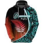Aotearoa Rugby Black Maori Hoodie Kiwi and Silver Fern New Zealand - Blue | 1st New Zealand