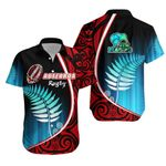 Aotearoa Rugby Black Maori Hawaiian Shirt Kiwi and Silver Fern New Zealand | 1st New Zealand