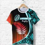 Aotearoa Rugby Black Maori T Shirt Kiwi and Silver Fern New Zealand - Blue | 1st New Zealand