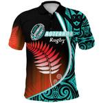 Aotearoa Rugby Black Maori Polo Shirt Kiwi and Silver Fern New Zealand - Blue | 1st New Zealand