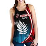 Aotearoa Rugby Black Maori Women Racerback Tank Kiwi and Silver Fern New Zealand | 1st New Zealand