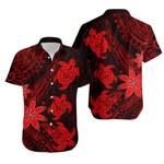 Three Turtles Hawaiian Shirt With Polynesian Tattoo Red
