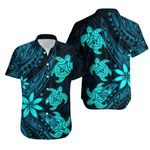 Three Turtles Hawaiian Shirt With Polynesian Tattoo Blue