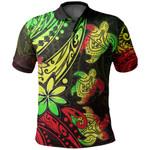 Three Turtles Polo Shirt With Polynesian Tattoo Rasta