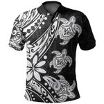 Three Turtles Polo Shirt With Polynesian Tattoo White