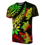 Three Turtles T-Shirt With Polynesian Tattoo Rasta