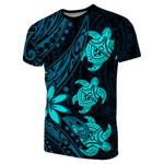 Three Turtles T-Shirt With Polynesian Tattoo Blue