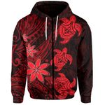 Three Turtles Zip-Hoodie With Polynesian Tattoo Red TH4