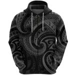 New Zealand Maori Mangopare Zip Hoodie Polynesian - Black K8