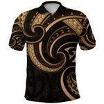 New Zealand Maori Mangopare Polo Shirt Polynesian - Gold K8