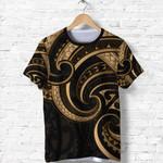 New Zealand Maori Mangopare T Shirt Polynesian - Gold K8