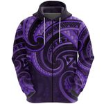 New Zealand Maori Mangopare Zip Hoodie Polynesian - Purple K8