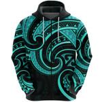 New Zealand Maori Mangopare Zip Hoodie Polynesian - Turquoise K8