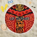 Anzac Lest We Forget Poppy Beach Blanket New Zealand Maori Silver Fern - Australia Aboriginal K8