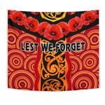 Anzac Lest We Forget Poppy Tapestry New Zealand Maori Silver Fern - Australia Aboriginal K8