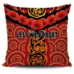 Anzac Lest We Forget Poppy Pillow Cover New Zealand Maori Silver Fern - Australia Aboriginal K8
