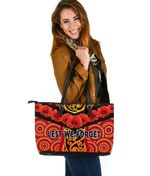 Anzac Lest We Forget Poppy Large Leather Tote New Zealand Maori Silver Fern - Australia Aboriginal K8