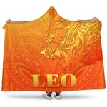 Sun In Leo Zodiac Hooded Blanket Polynesian Tattoo Simple - Orange K8
