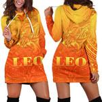 Sun In Leo Zodiac Women Hoodie Dress Polynesian Tattoo Simple - Orange K8
