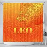 Sun In Leo Zodiac Shower Curtain Polynesian Tattoo Simple - Orange K8