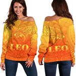 Sun In Leo Zodiac Women Off Shoulder Sweater Polynesian Tattoo Simple - Orange K8