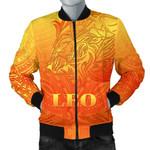 Sun In Leo Zodiac Men Bomber Jacket Polynesian Tattoo Simple - Orange K8