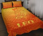 Sun In Leo Zodiac Quilt Bed Set Polynesian Tattoo Simple - Orange