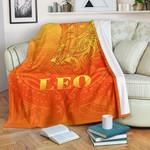 Sun In Leo Zodiac Premium Blanket Polynesian Tattoo Simple - Orange