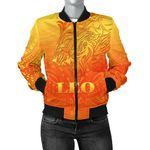 Sun In Leo Zodiac Women Bomber Jacket Polynesian Tattoo Simple - Orange