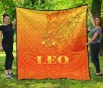 Sun In Leo Zodiac Premium Quilt Polynesian Tattoo Simple - Orange