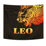 Sun In Leo Zodiac Tapestry Polynesian Tattoo Simple - Orange Black