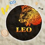 Sun In Leo Zodiac Beach Blanket Polynesian Tattoo Simple - Orange Black