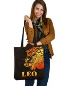 Sun In Leo Zodiac Tote Bag Polynesian Tattoo Simple - Orange Black