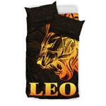 Sun In Leo Zodiac Bedding Set Polynesian Tattoo Simple - Orange Black