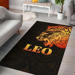 Sun In Leo Zodiac Area Rug Polynesian Tattoo Simple - Orange Black