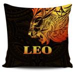 Sun In Leo Zodiac Pillow Cover Polynesian Tattoo Simple - Orange Black