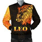Sun In Leo Zodiac Men Bomber Jacket Polynesian Tattoo Simple - Orange Black