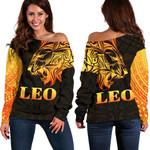 Sun In Leo Zodiac Women Off Shoulder Sweater Polynesian Tattoo Simple - Orange Black