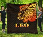 Sun In Leo Zodiac Premium Quilt Polynesian Tattoo Simple - Orange Black