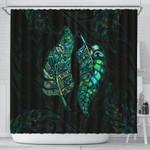 New Zealand Silver Fern Couple Shower Curtain Paua Shell