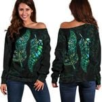 New Zealand Silver Fern Couple Women Off Shoulder Sweater Paua Shell